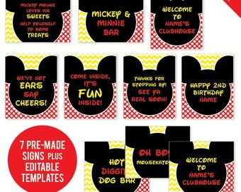 INSTANT DOWNLOAD Mickey Mouse Party - Printable 8x10 Signs, Plus Bonus EDITABLE Signs!