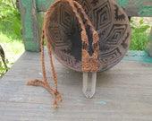 Handmade Micro Macrame Waxed Cord Long Necklace w/HUGE Lemurian SEED QUARTZ Crystal Point ~ Ornate Fine Detail ~ Loving Vibes ~ Hippie Boho~