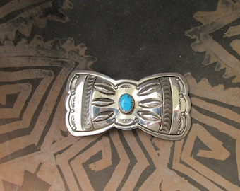 """Gorgeous Vintage Huge Navajo Sterling Silver & Turquoise Bowtie Concho ~ Was Part of a Vintage Native American Belt ~ 20 grams ~2.75"""" x 1.5"""""""