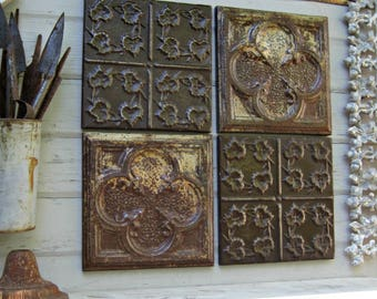 Rustic wall decor, Antique Architectural Salvage Wall Decor, 4 Ceiling Tin Tiles, Farmhouse decor, Vintage Frames Home Decor