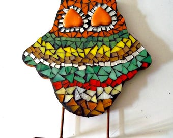 Mosaic Owl, Mosaic Art, Stained Glass, Shelf Sitter, Festive Colors, Childrens Room, Colorful, For The Owl Collector - 7 x 6 Inches