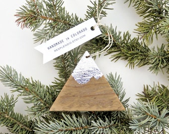 mountain ornament - handmade recycled pallet wood Colorado Christmas