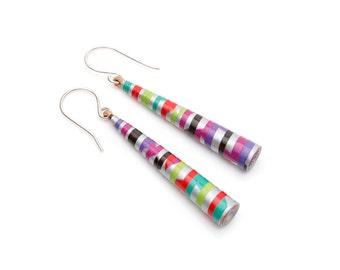 Carnival Earrings - Colorful earrings - Neon Earrings - Colorful jewelry - Neon jewelry - Thin long earrings - Lightweight earrings