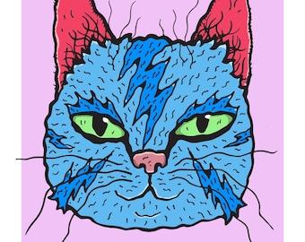 Blue Bowie Bolts Wiggly Kitties Cat Art Print