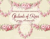 PNG PINK Garland of Roses Instant Download Antique Wallpaper Elements