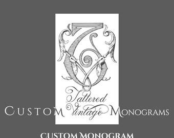 Custom Vintage Monogram Wedding Invitation Design Printable Invites