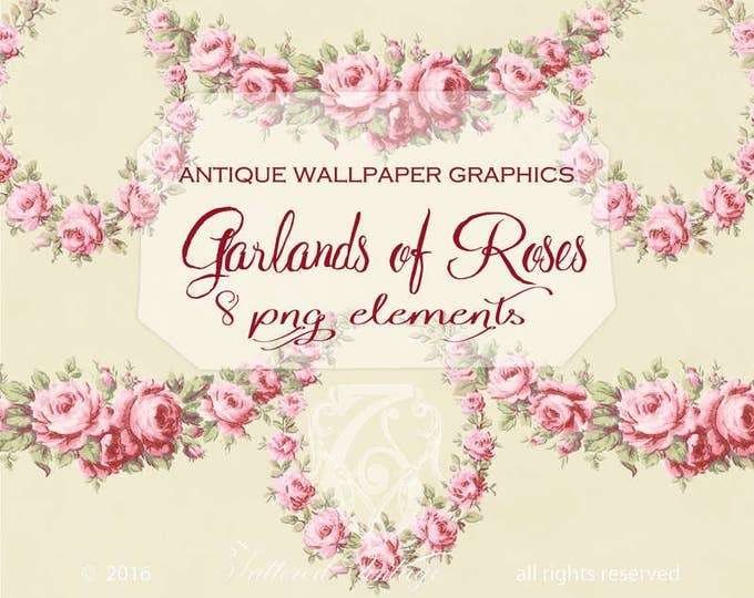 PNG PINK Garland of Roses Instant Download Antique Wallpaper Elements