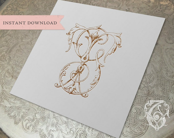 Vintage Wedding Monogram TG GT Digital Download T G