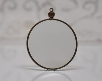Vintage Two Sided Glass Locket Gold Toned Rare for Personal Images