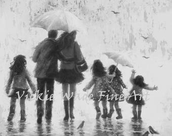 Rain Family Art Print, four daughters, four girls, father mother, four sisters, black and white wall art, umbrellas, Vickie Wade Art