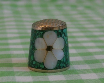 Beautiful Flower Shell Inlay Thimble, Vintage Made in Mexico, Mother of Pearl and Turquoise Color
