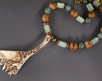 SALE The Tree Necklace Pyrography on Turtle Bone w Green Prehnite and African Wood Beads Ethnic Bohemian Jewelry