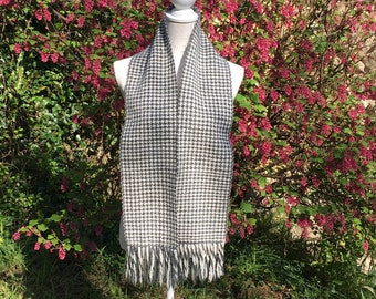 Hand Woven Houndstooth Scarf in British Wool made in Cornwall, UK