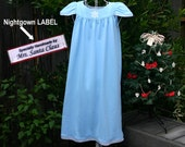 "LAST ONE--Size 10-Girls //Blue Snowflake Nightgown/Flutter Sleeve, 100% Cotton Knit,""Made by Mrs Santa"" LABEL// Ready to Ship //mid-wt 8oz)"