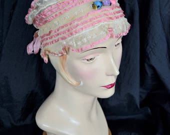 Antique Vintage FLAPPER BANDEAU RIBBONWORK Lady Art Deco Boudoir Lace Night Sleep Cap Hat Bonnet Pink Silk Ribbon Rosette Rose Work Trim Net
