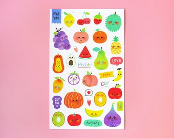 Happy Fruits Sticker Sheet - Kiss Cut Stickers, Illustration Stickers, Planner Stickers, Diary Stickers, Kawaii Stickers, Craft Stickers