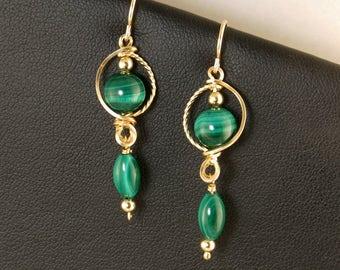 Green Malachite Gold Filled Dangle Earrings, Greenery Green Gemstone Rose Gold Wire Earrings, Wire Wrapped Gold Earrings, Malachite Jewelry