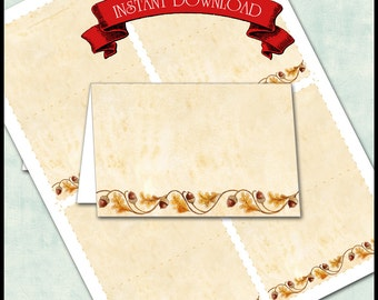 Thanksgiving Place Cards / Holiday Dinner Seating Cards / Acorns & Autumn Leaves / Folded Tent Card / INSTANT DOWNLOAD / You Print