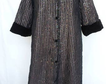 1950s Robe, Stripes with Glitter, Pink Lining, Velvet Collar, A Marfay Original, Medium/Large