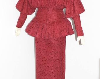 NORMA KAMALI Vintage Skirt Suit Burgundy Peplum Floral Brocade
