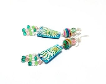 Colorful Fiber Bead Earrings. Turquoise Nautilus Charms. Boho Gypsy Hippie Earrings. Artisan Fiber Beads. Gifts For Her. Beaded Jewelry.