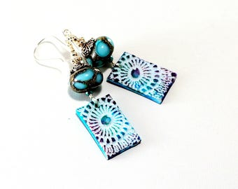 Colorful Lampwork Bead Earrings. Artisan Polymer Clay Charms. Lavender Turquoise Earrings. Boho Gypsy Earrings. Glass Bead Jewelry.