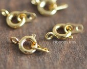 20pcs Gold Spring Ring Clasps 6mm, 24K Gold plated Brass Clasp with Ring Connector (GB-022)