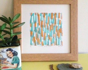 Orange, Grey, Mint - Limited Edition Screen Print - Art Print - Wall Art - Midcentury Pattern - Vintage Style Print