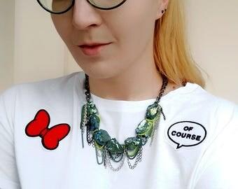 Chunky Quartz Necklace, Blue Quartz Statement Necklace, Chain Rock Crystal Necklace