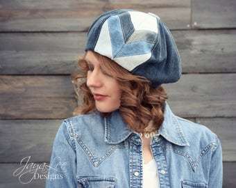 Chevron Beret Hat Patched Denim