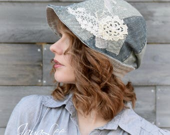 Boro Patched Denim Hat Cloche Bucket Hat Hippie Hipster Gypsy