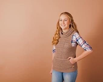 Womens crochet top pattern, Crochet sweater pattern, crochet pattern, Cowl vest, instant download, one piece, easy crochet pattern