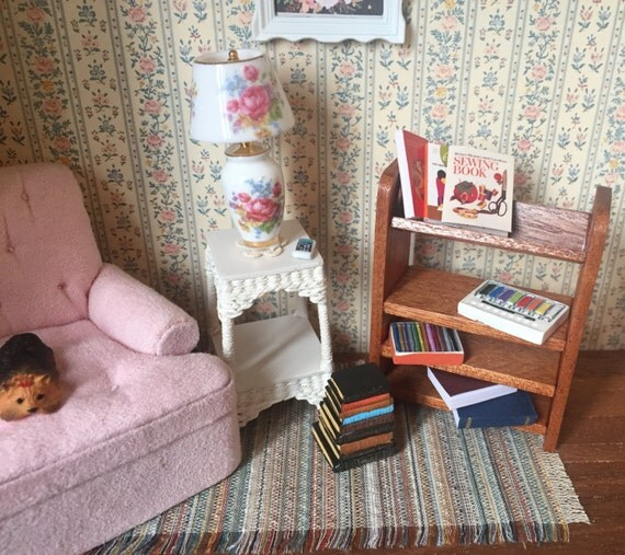 Miniature Wood Bookshelf, Walnut Bookcase, Dollhouse Miniature, 1:12 Scale, Dollhouse Furniture, Mini Bookcase, Shelf, Shelves, Decor