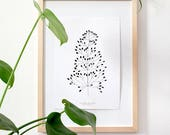 Botanical Print, Bent-Grass, recycling paper, Floral Illustration,Urban Jungle, Black and White, Plant Illustration, Gift for Plant Lovers