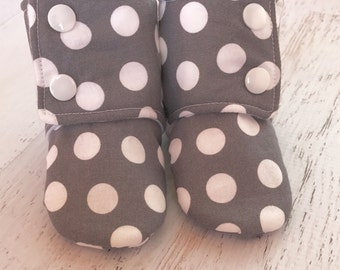 Gray baby boots - toddler boots - soft sole boots - snap on boots- baby shower gift