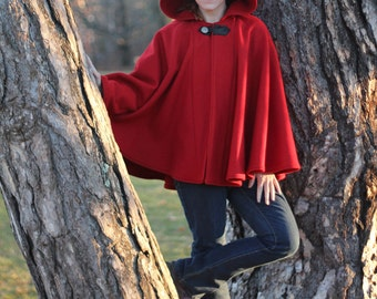 Red Cape - Wool Cape - Mid-Length Cape - Cape With Hood - Hooded Cape