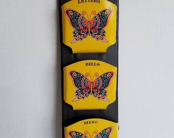 Vintage 1970s Boho Brightly Colored Butterfly Wall Hanging Bill Letter Mail Sorter