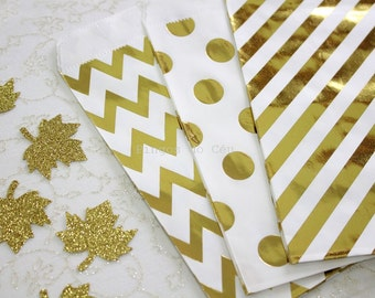12 pcs - Gold Foil Paper Bags - Gold Paper Bags - Treat Bags - Favor Bags - Party Supplies - Gift Wrap - Packaging - Ready to ship
