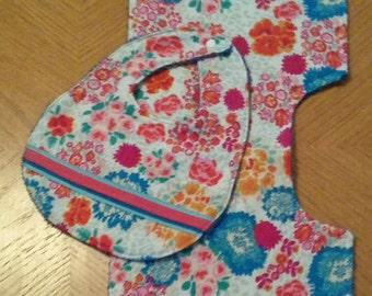 Floral baby bib and Burp Cloth set