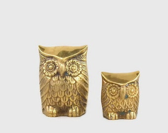 Vintage Brass Owl Figurines x 2 (Family A)