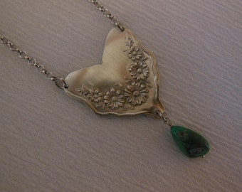 Turquoise and Daisies  Free Form Antique Fork Necklace