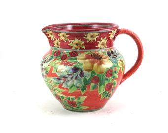 Ceramic Pitcher - Orange Porcelain Floral Handmade Water Pitcher with Flowers - Ceramic Creamer - Country Flower Vase