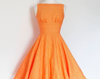 Tangerine Orange Linen Tiffany Swing Dress - Made by Dig For Victory