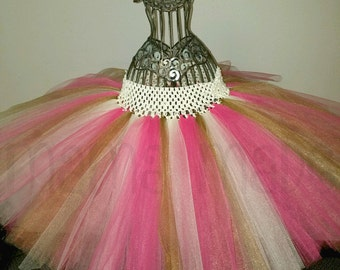 Fuchsia and white Tutu with Gold Shimmer Tulle Pink and Gold Tutu white and Gold Tutu Gold Flower Girl Tutu white and Gold wedding tutu