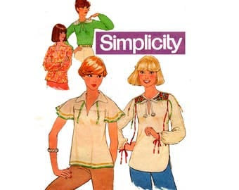 70s Simplicity 8079 Hippie Caftan Tops Boho Festival Style Summer Blouses Pattern Size 12 Bust 34 inches