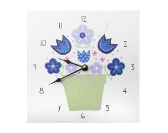 Children's Clock - Custom Hand Painted Kids Wooden Wall Clock - Purple Flowers or Any Room Decor Theme - 6 inch 8 inch or 10 inch