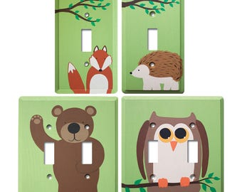 Switch Plate - Custom Hand Painted Wooden Light Switch or Electrical Cover Plate Woodland Forest Animal Theme