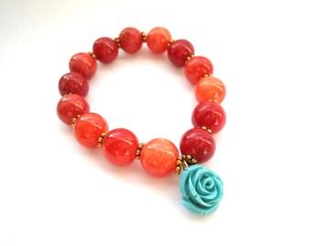 Wife Statement Jewelry - Red Boho Bracelet - Blue Rose Bracelet - Gemstone Jewelry Gift - Rose - Red Rustic Bracelet Flower Jewelry for Wife