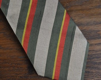 Mid Century Italian Silk Tie red olive beige and yellow stripes MCM