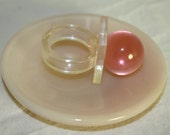 Plastic Lucite Pink Bubble Ring from the late 70s Unique Pink Globe on Clear Square base Retro Hippie Mod Style Perfect condition Hipster